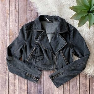 Free People Denim Moto Jacket